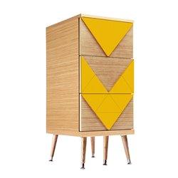 Узкий комод Slim Woo желто-горчичный / светлый шпон, Woodi