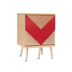 Маленький комод Woo Twins красный / светлый шпон, Woodi