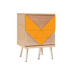 Маленький комод Woo Twins оранжевый / светлый шпон, Woodi