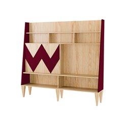 Стенка для гостиной Woo Wall бордовый / светлый шпон, Woodi