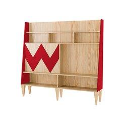 Стенка для гостиной Woo Wall красный / светлый шпон, Woodi