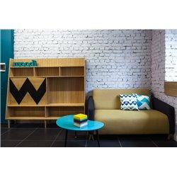 Большой шкаф для гостиной Woo Wall бирюзовый/ светлый шпон, Woodi