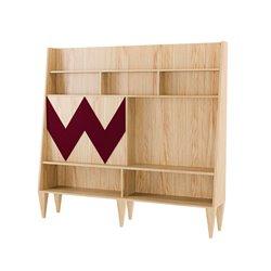 Большой шкаф для гостиной Woo Wall бордовый / светлый шпон, Woodi