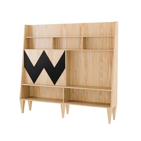 Большой шкаф для гостиной Woo Wall черный / светлый шпон, Woodi