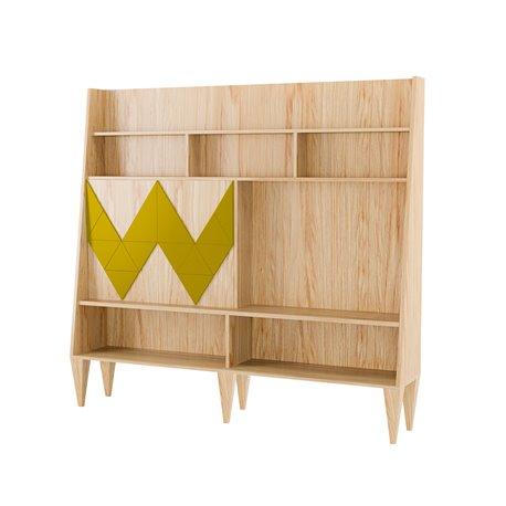 Большой шкаф для гостиной Woo Wall желто-горчичный / светлый шпон, Woodi