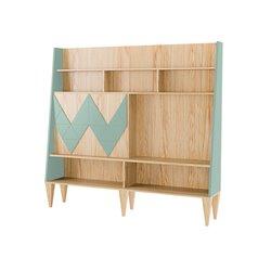 Большой шкаф для гостиной Woo Wall цвет морской волны/ светлый шпон, Woodi