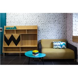 Большой шкаф для гостиной Woo Wall оранжевый / светлый шпон, Woodi