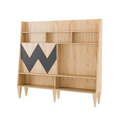 Большой шкаф для гостиной Woo Wall темно - серый / светлый шпон, Woodi