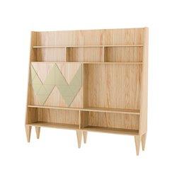Большой шкаф для гостиной Woo Wall желтая охра / светлый шпон, Woodi