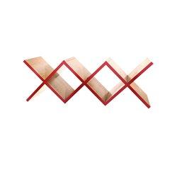 Полка для гостиной Woo Shelf красный / светлый шпон, Woodi