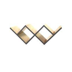 Книжная полка Woo Shelf темно-серый / светлый шпон, Woodi