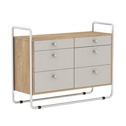 Комод Bauhaus светло-серый / светлый шпон, Woodi