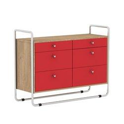 Комод Bauhaus красный / светлый шпон, Woodi
