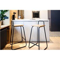 Барный стул Bauhaus синий/ светлый шпон, Woodi