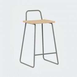 Барный стул Bauhaus серый / светлый шпон, Woodi