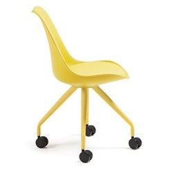 Кресло на колесиках Lars желтое, La Forma (ex Julia Grup)