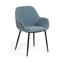Кресло KOON черный металлик бархатный синий, La Forma (ex Julia Grup)