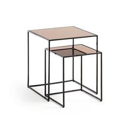 Набор из 2 приставных столов Sute с золотой зеркальной столешницей и металлической структурой., La Forma (ex Julia Grup)