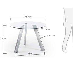 Круглый стол Columbia 110 см стеклянный, La Forma (ex Julia Grup)